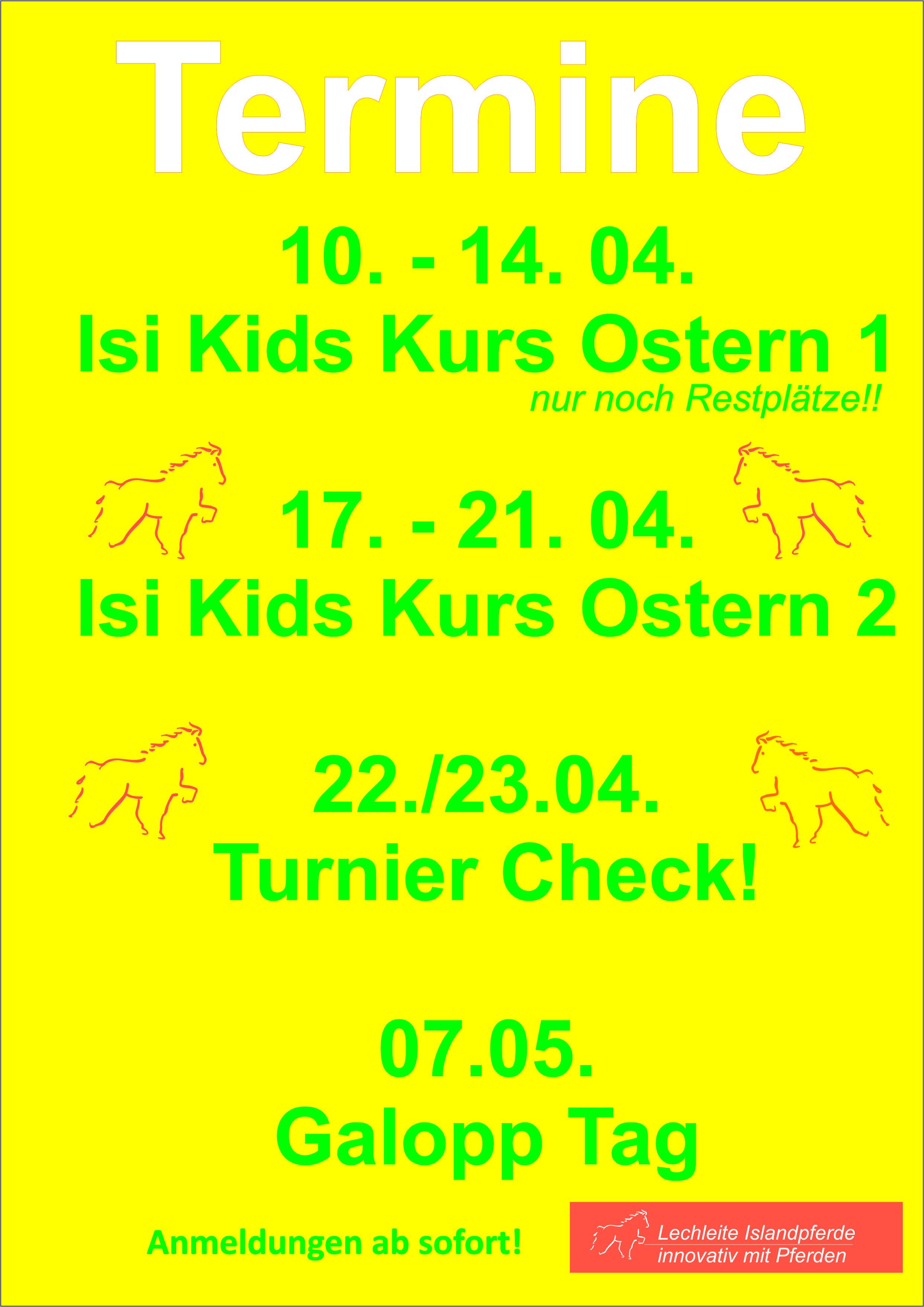 Kinderkurse in den Osterferien und mehr! :-)